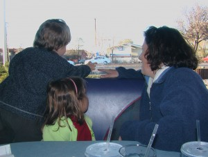 US Trip 2008 - Sharon and Children with Bullet Hole in Diner's Window