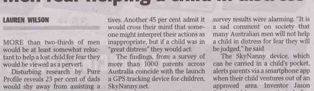 Men Fear Helping a Child In Distress In Case They Are Viewed As A Pervert
