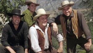 BONANZA -- Pictured: (clockwise from left) Pernell Roberts as Adam Cartwright, Michael Landon as Joseph 'Little Joe' Cartwright, Lorne Greene as Ben Cartwright, Dan Blocker as Eric 'Hoss' Cartwright -- Photo by: NBCU Photo Bank